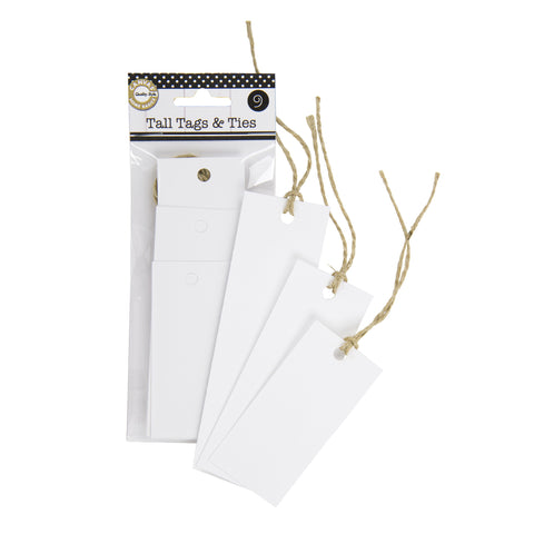 Tall Tags & Ties - White (9)