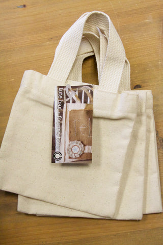 "Canvas Bag - Canvas Mini Tote 4""x4"" Set of 3"