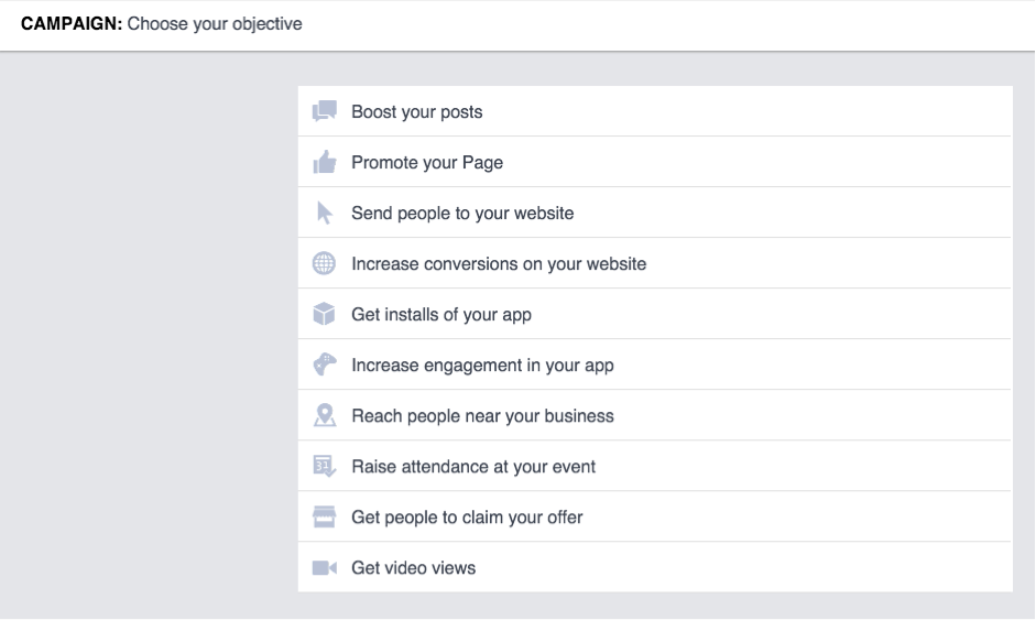 image objectives Facebook advertising campaign