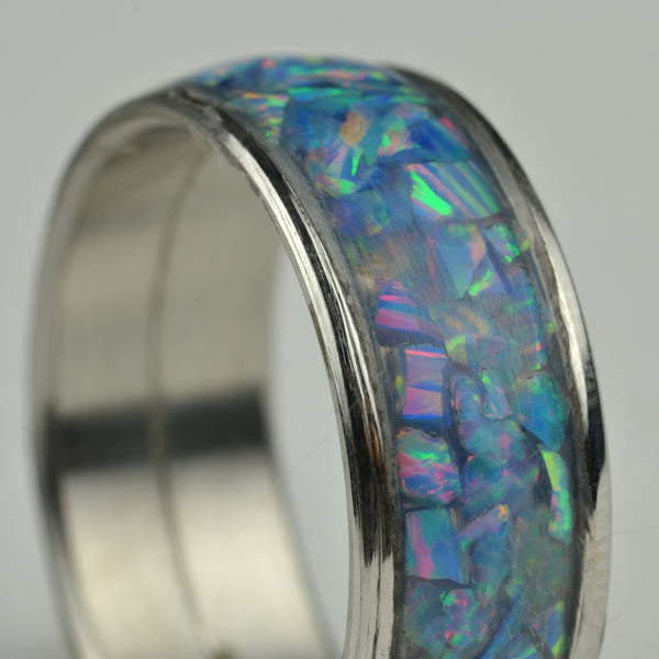 Cultured Opal - Marina (light blue with red and green fire)