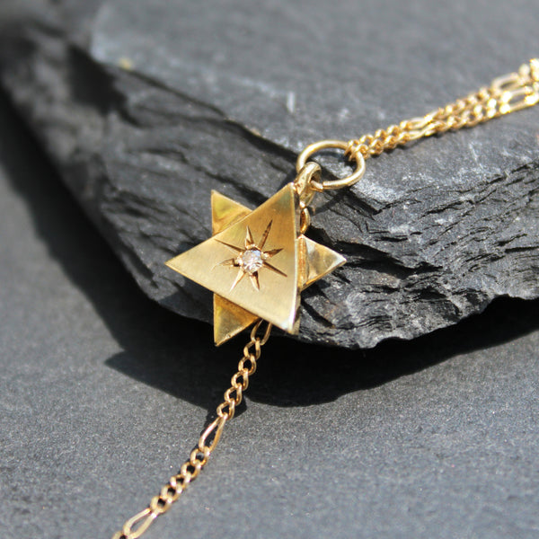 14k Gold Star of David + Hamsa Drop Chain Necklace