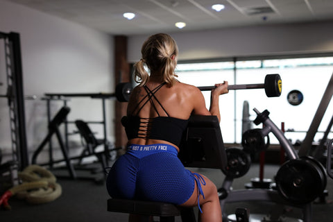 Black Reverse Cross Workout Crop Top and Blue 3D Fishnet Ribbed Booty Gym Shorts | Not Just A Pretty Face
