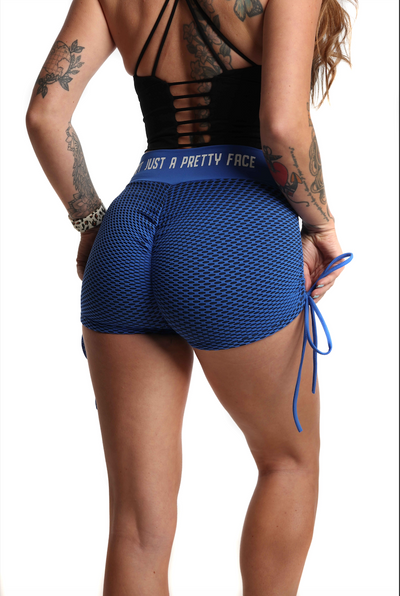 3D Fishnet Ribbed Booty Gym Shorts | Bold Blue Back