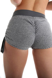 3D Fishnet Ribbed Booty Gym Shorts | Glamorous Grey Back