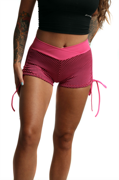 3D Fishnet Ribbed Booty Gym Shorts | Playful Pink Front