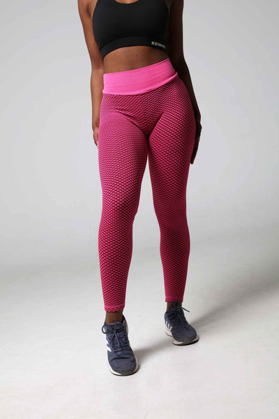 3D Fishnet Ribbed Pink Gym Leggings Front