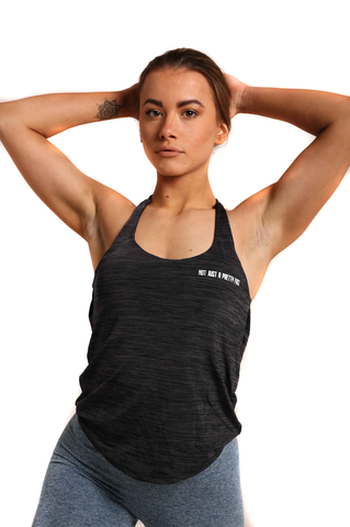 Backless Training Vest With Built In Bra - Onyx Black | Back