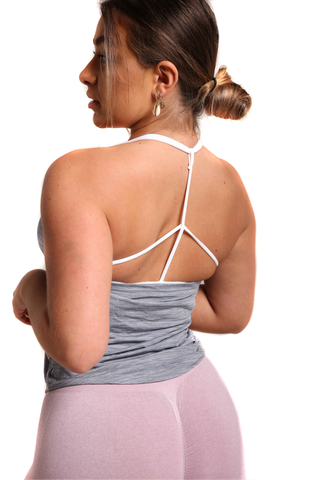 Backless Training Vest With Built In Bra - Onyx Grey | Back