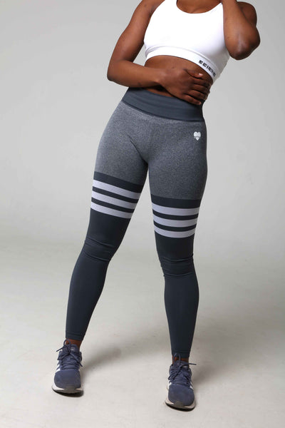 Booty Bae Grey Striped Gym Leggings Front