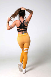 Booty Bae Yellow Striped Gym Leggings Back