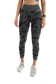 Camo High Waisted Seamless Gym Leggings - Black - Back