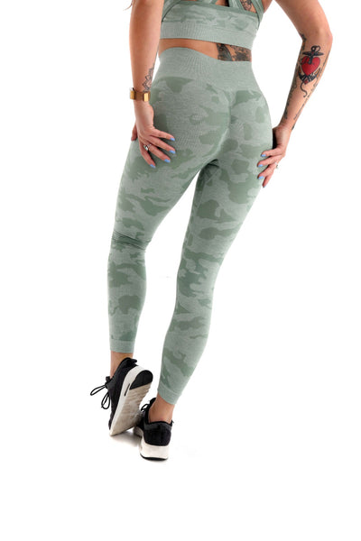Camo High Waisted Seamless Gym Leggings - Green back