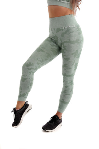 Camo High Waisted Seamless Gym Leggings - Green Front
