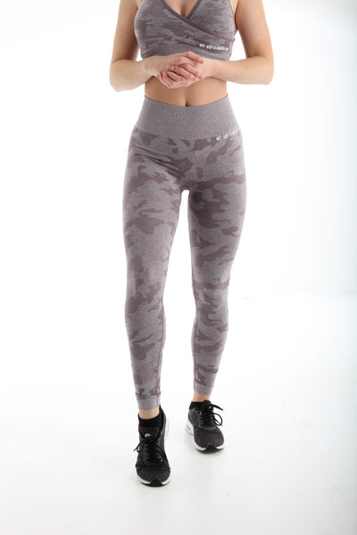Camo High Waisted Seamless Gym Leggings - Lilac Front