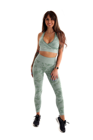 Camo High Waisted Seamless Gym Leggings & Sports Bra Co-Ord Set | Green