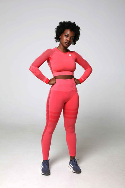 High Waist Gym Leggings and Long Sleeve Crop Top Co-Ord Set - Coral Pink Front