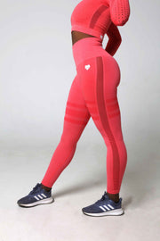 High waist seamless striped pink leggings front