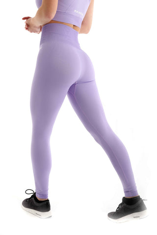 Pastel High Waist Seamless Gym Leggings | Lilac Back