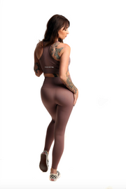 Pastel High Waist Seamless Gym Leggings & Sports Bra Co-Ord Set | Mocha Back