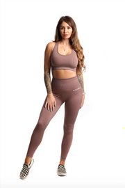 Pastel High Waist Seamless Gym Leggings & Sports Bra Co-Ord Set | Mocha Front