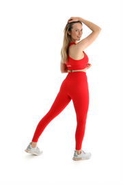 Pastel High Waist Seamless Gym Leggings and Sports Bra Co-Ord Set Red Back