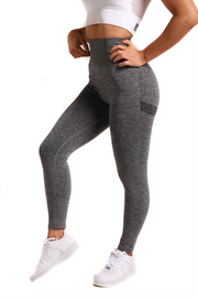 Perfect Peach Seamless Scrunch Gym Leggings | Gorgeous Grey Front