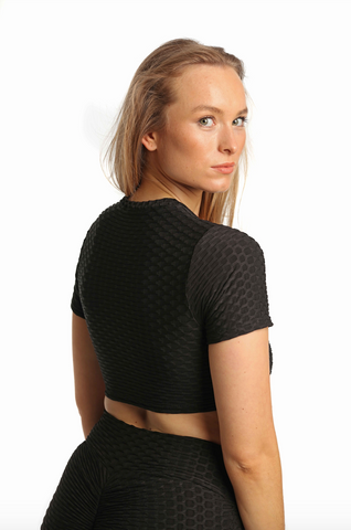 Ruched Bubble Crop Top | Obsidian Black Back