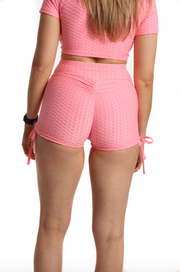 Ruched Bubble Shorts | Baby Pink Back