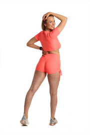 Ruched Bubble Shorts & Crop Top Set | Neon Coral Back