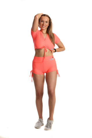 Ruched Bubble Shorts & Crop Top Set | Neon Coral Front