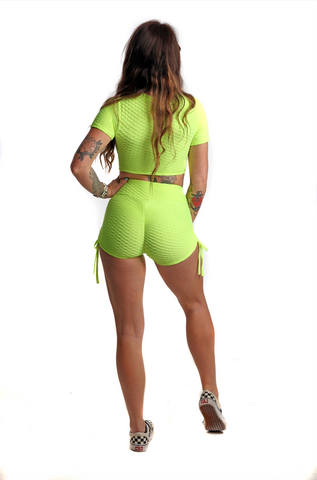 Ruched Bubble Shorts & Crop Top Set | Neon Yellow Back