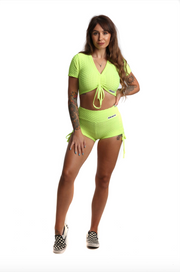 Ruched Bubble Shorts & Crop Top Set | Neon Yellow Front