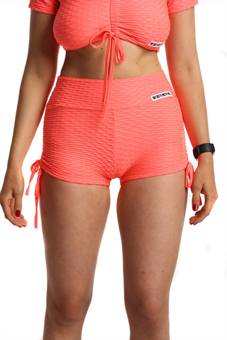 Ruched Bubble Shorts | Neon Coral Front