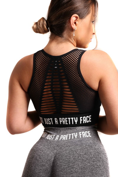 The Military Mesh Crop Top | Bold Black Back