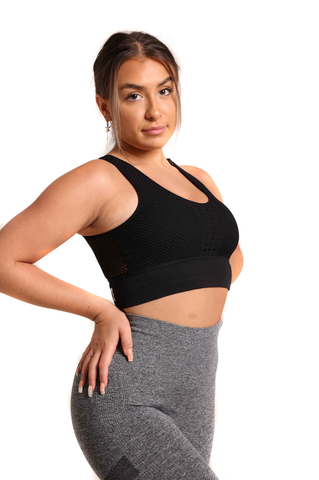 The Military Mesh Crop Top | Bold Black Front