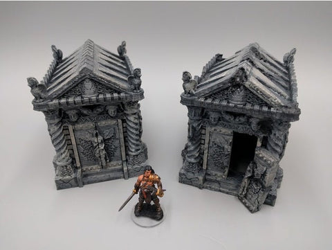 Tomb (Ruined and Intact) 28mm scale - EC3D 3D Printed Miniature