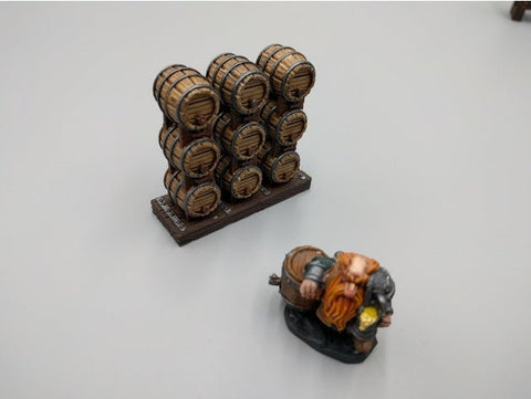 Small Stacked Casks - Dwarven AleWorks - 28mm