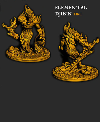 Fire Elemental Djinn - Ec3D