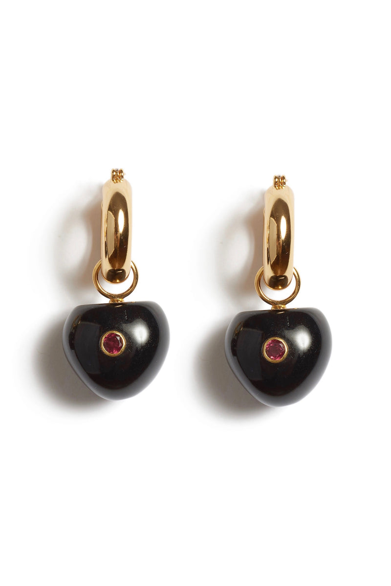 Black Cherry Hoop Earrings