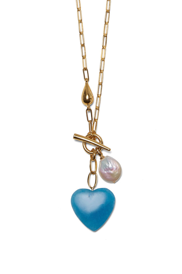 Heart String Necklace in Cerulean