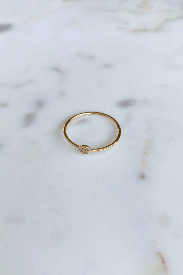 Single Sided Diamond Circle Ring