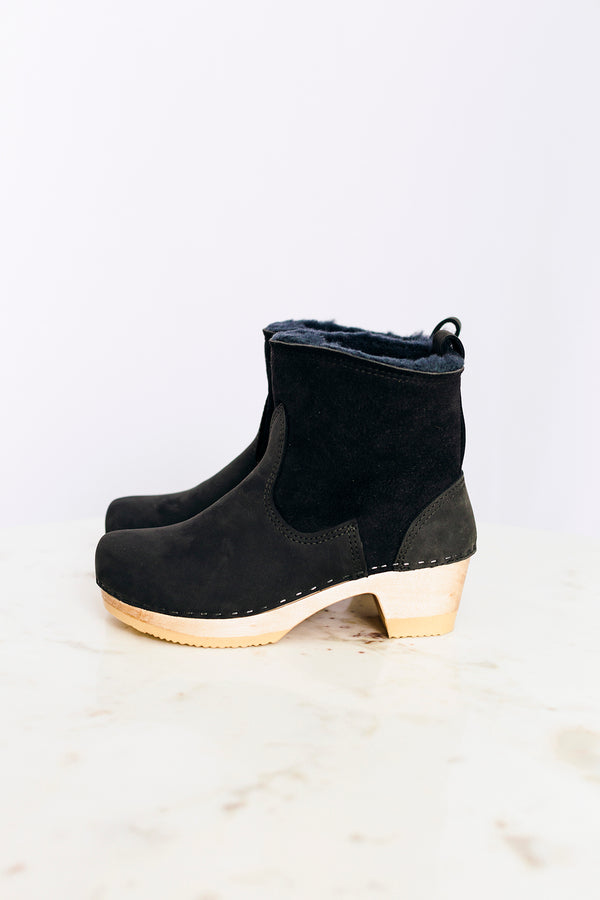 Navy Shearling Boot