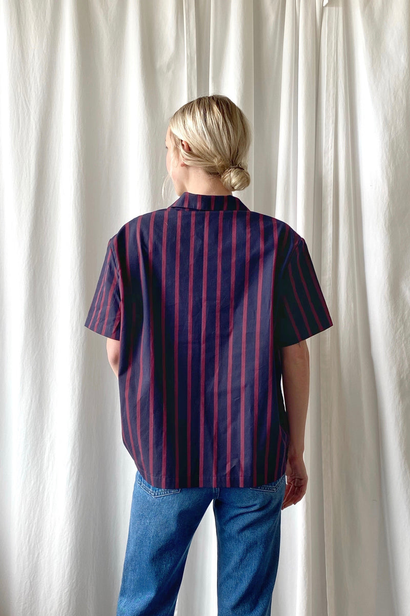 Striped Poplin Bowling Shirt