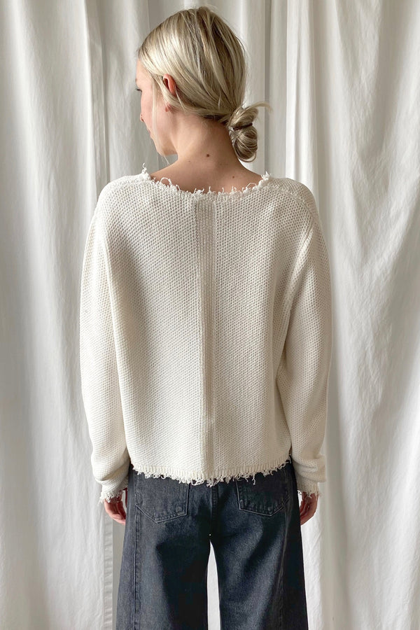 Frayed Cropped Pullover
