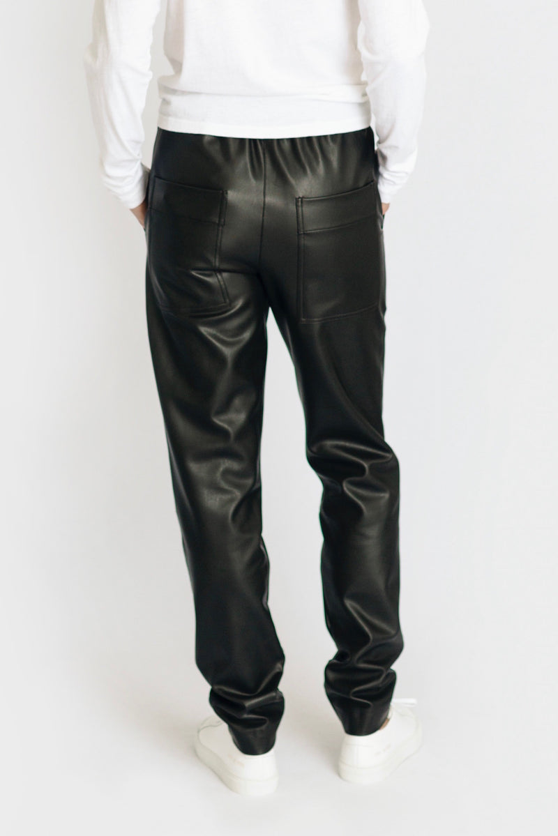 Faux Leather Pull On Pant