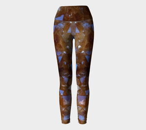 Citrine Crystal Fold Over Yoga Leggings