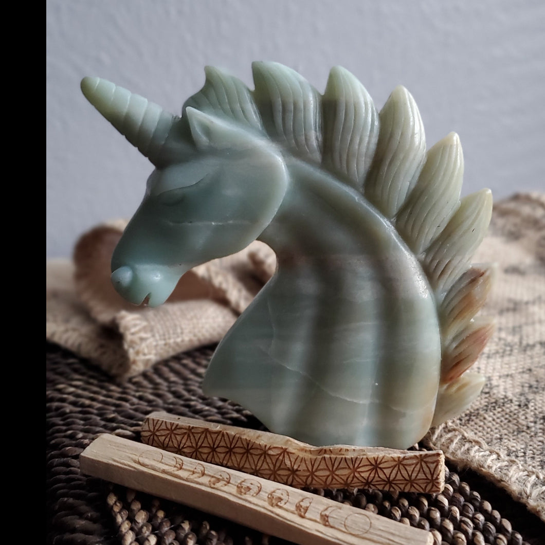 Natural Carved Amazonite Unicorn Spirit Animal