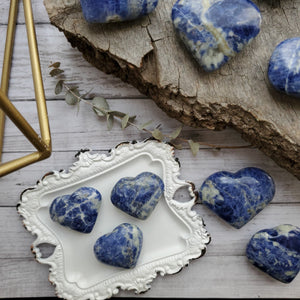 Natural Blue Sodalite Gemstone Hearts
