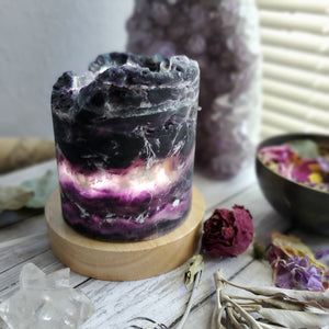 Raw Rainbow Fluorite Crystal USB Lamp