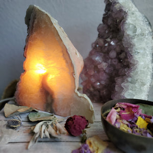 Natural Polished + Raw Agate Crystal Lamp
